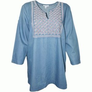 Charter Club Embroidered Denim Top Ocean Sky Large